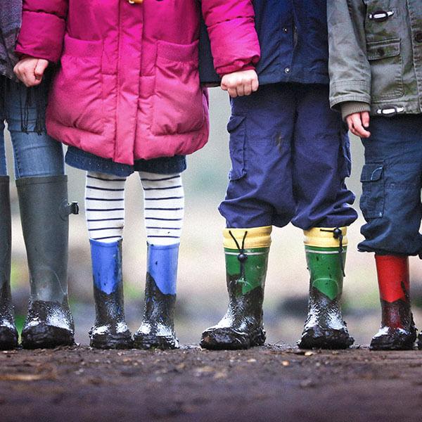 Kids in rain boots